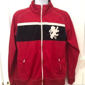 AEO Vintage Varsity Sports Track Zip Jacket Red M